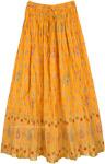 Marigold Crinkled Cotton Summer Long Skirt
