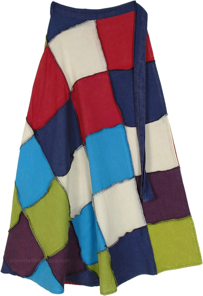 Multicolored Cotton Patchwork Long Wrap Around Skirt