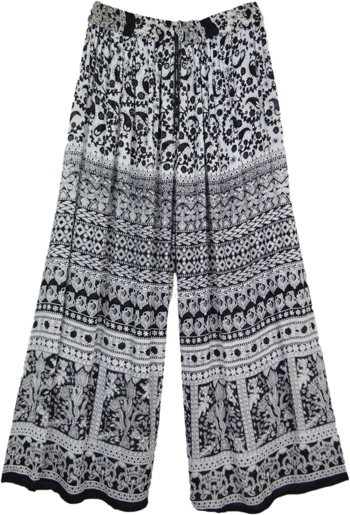 Ethnic Print Black and White Wide Leg Palazzo Pants
