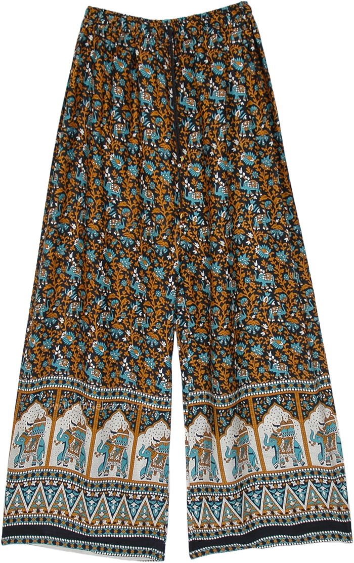 Ethnic Elephant and Floral Printed Wide Leg Palazzo Pants