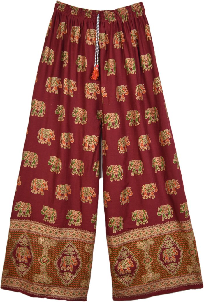 Rosewood Red Straight Pants with Golden Elephant Print