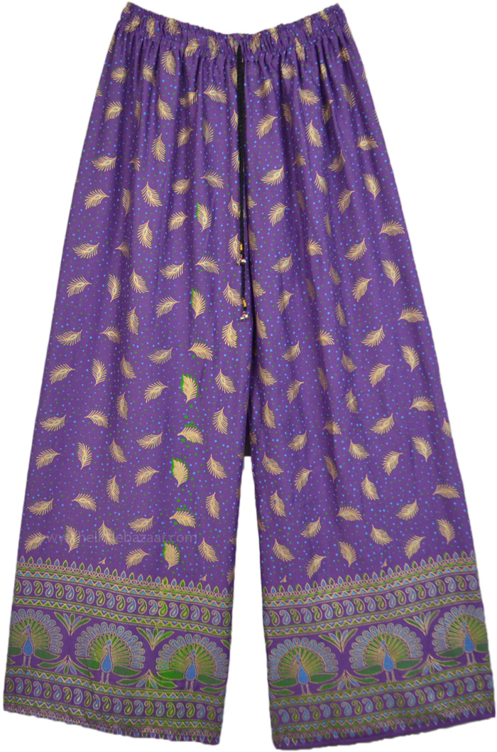 Amethyst Purple Straight Pants with Peacock Feather Print