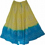 Tie Dye Skirt in Yellow and Blue