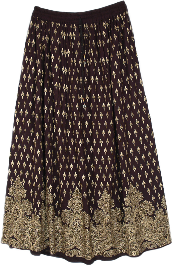 Ebony and Gold Painted Rayon Maxi Skirt