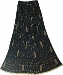 Navy Crinkle Summer Long Skirt