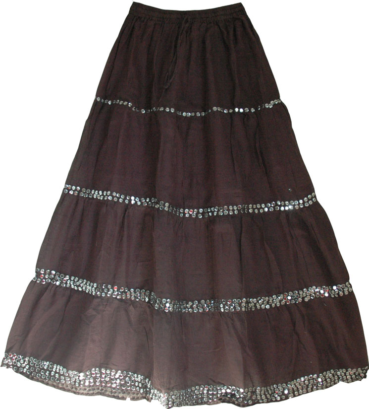 Woody brown womens long skirt with sequins This long flowing skirt ...