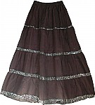 Woody Brown Sequined Long Skirt