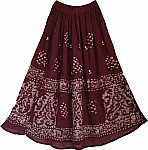 Wine Berry Long Skirt with Mirrors