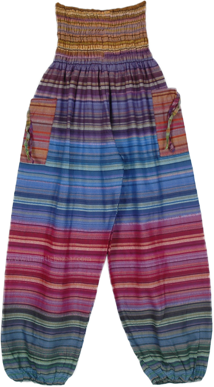 Shades Of Rainbow Striped Yoga Harem Pants