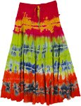 Exotic Island Vibrant Tie Dye Tiered Rayon Skirt