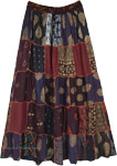 indian Dreams Patchwork Long Skirt In Rayon
