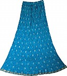 Bohemian Crinkle Skirt in Eastern Blue