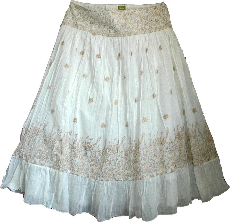 Golden White Bohemian Skirt