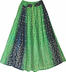 Green Navy Summer Long Skirt