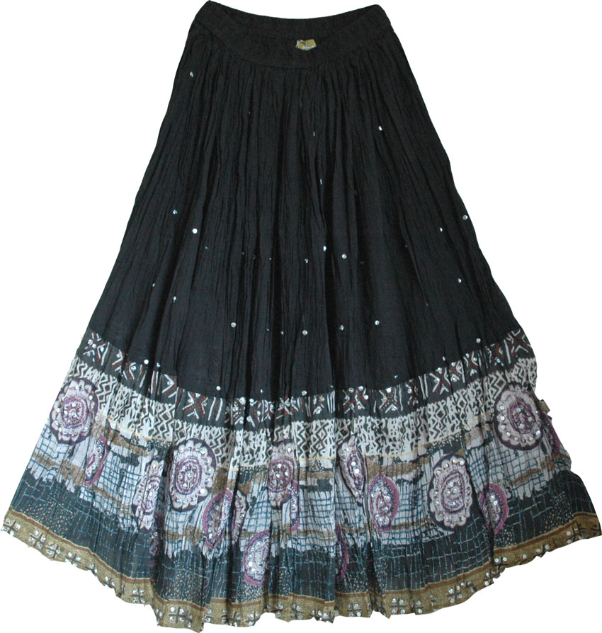 Plain black skirt with sequined border - Sale on bags, skirts ...