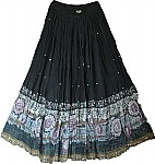 Cotton Long Skirt with Sequins