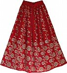 Tamarillo Sequin Skirt with Floral Motifs