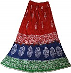 Red Batik Print  Long  Summer Skirt