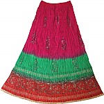 Maroon Flush Crinkle Ethnic Skirt