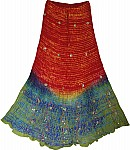 Boho Silk Skirt with Sequins