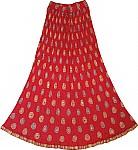 Chakra Ethnic Skirt in Tamarillo