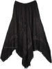 Asymmetric Hem Handkerchief Skirt in Black