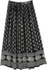 Black White Ethnic Printed Gypsy Skirt with Sequins
