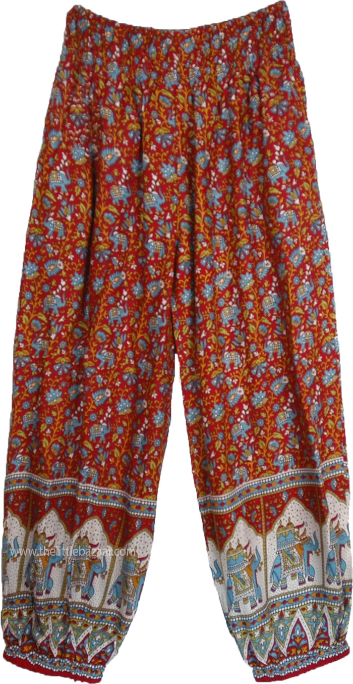 White Harem Pants With Traditional Elephant Print With