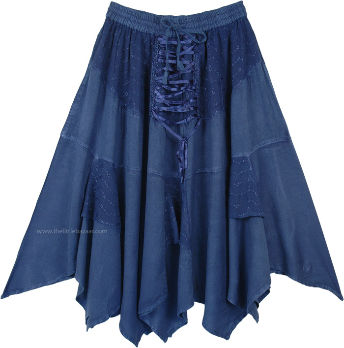 Denim Blue Western Mid Length Handkerchief Hem Skirt