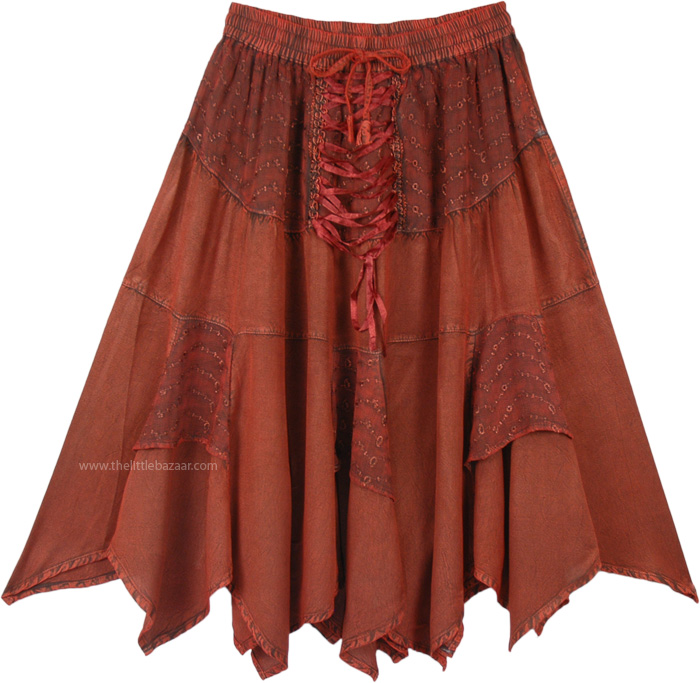 Dark Amber Handkerchief Hem Mid Length Cowgirl Skirt