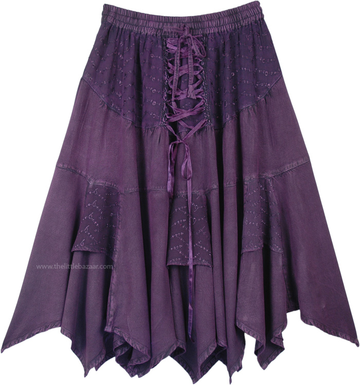 Voodoo Purple Western Mid Length Handkerchief Hem Skirt