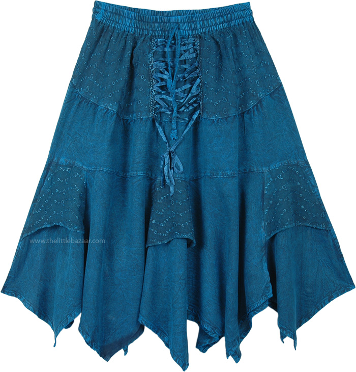 Teal Rodeo Lace Up Style Handkerchief Hem Mid Length Skirt