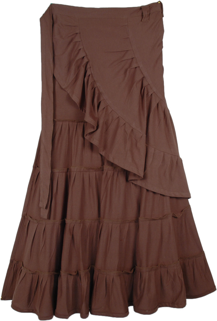 Cocoa Ruffled Tiered Jersey Cotton Wrap Around Skirt