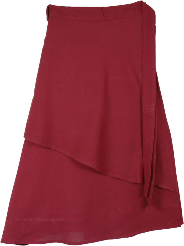 Mid Length Solid Merlot Wrap Around Skirt