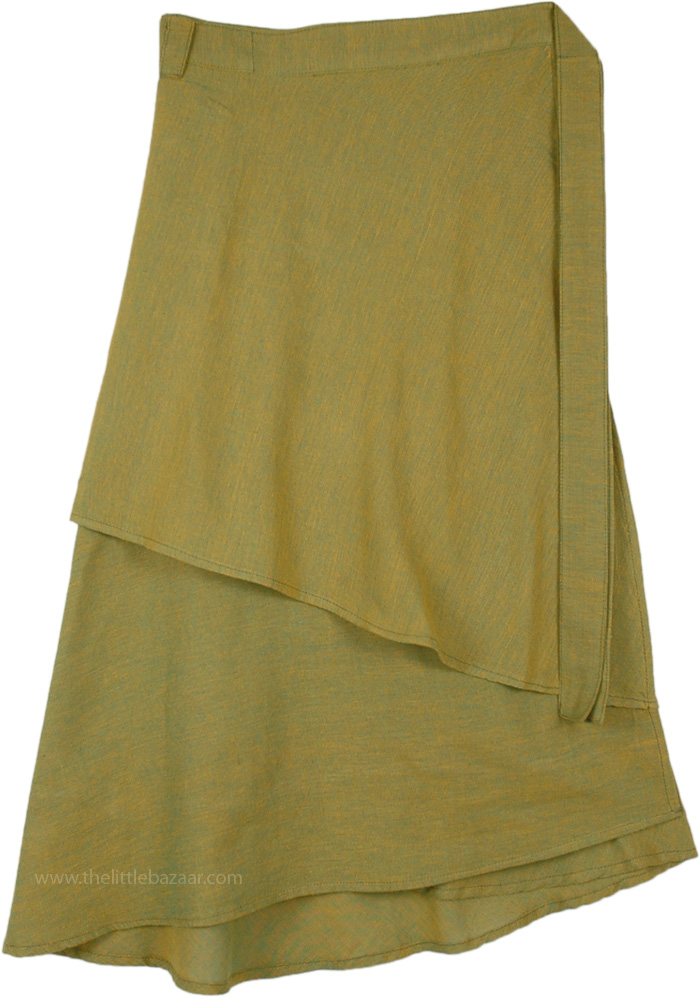 Layered Mid Length Wrap Around Skirt in Sycamore