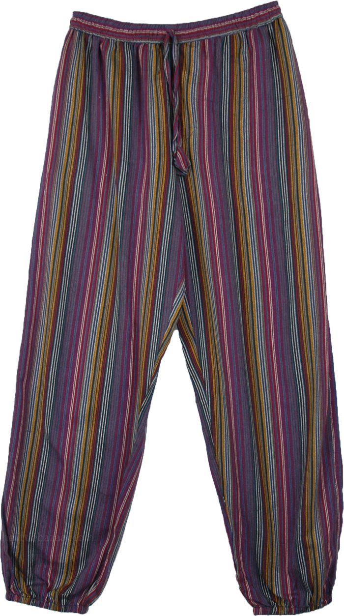 Purple Striped Cotton Womens Pants with Pockets