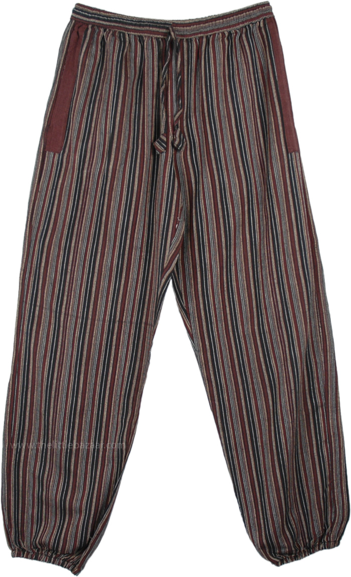 Brown Toned Striped Cotton Womens Harem Pants