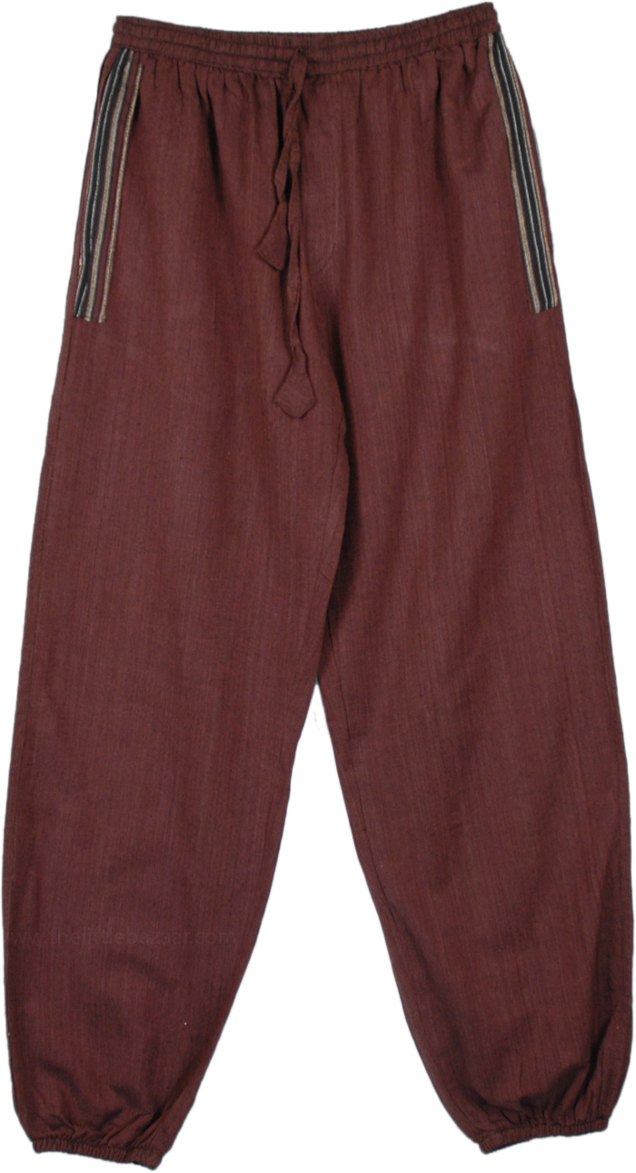 Brown Cotton Fun Harem Pants with Closed Ankles