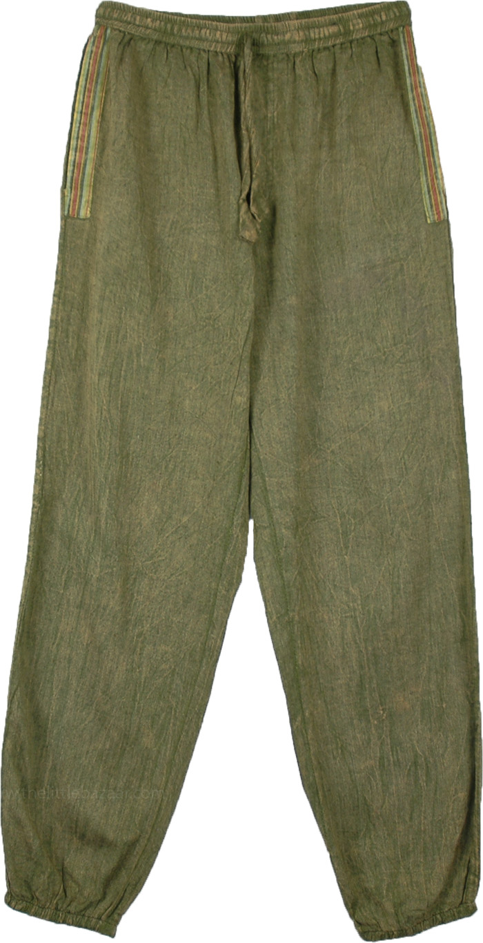 Khaki Green Jogger Style Womens Pants with Pockets