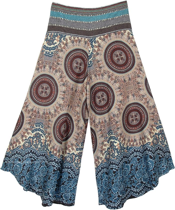Mystic Chakra Wide Leg Boho Festival Pants with Woven Waist