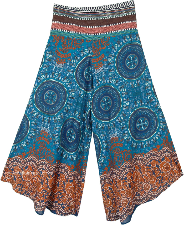 Teal Mandala Magic Wide Leg Boho Festival Pants for Women