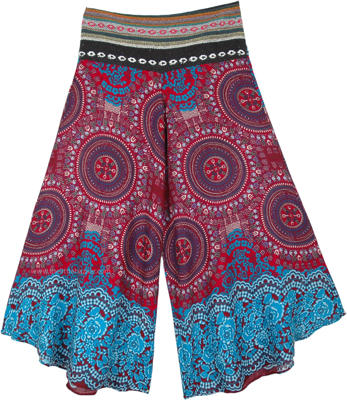 Red Myst Wide Leg Pants Mandala Thai Print