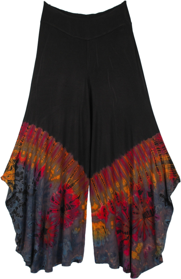 Bottom Grey Tie Dye Side Slits Wide Leg Fashion Pants