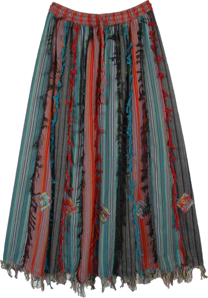 Holiday Cheer Patchwork Bohemian Skirt with Fringes