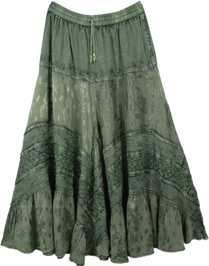 Sage Green Medieval Style Gypsy Rayon Long Skirt