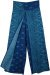 Teal Blue Paisley Printed Front Slit Rayon Trousers