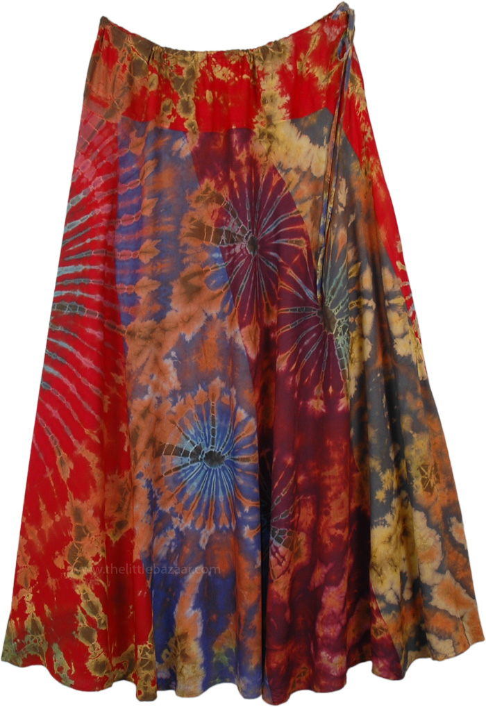 Red Hues Tie Dye Patchwork Flowing Long Skirt