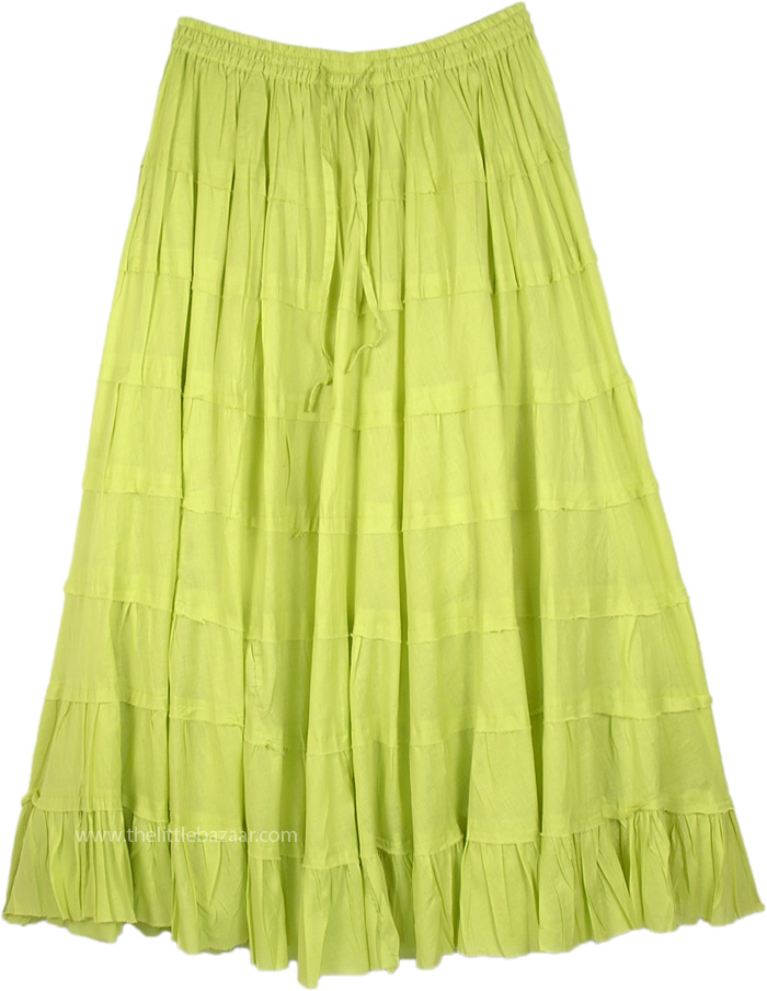 Lime Green Long Tiered Full Cotton Skirt
