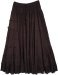 Black Cotton Long Tiered Full Long Skirt