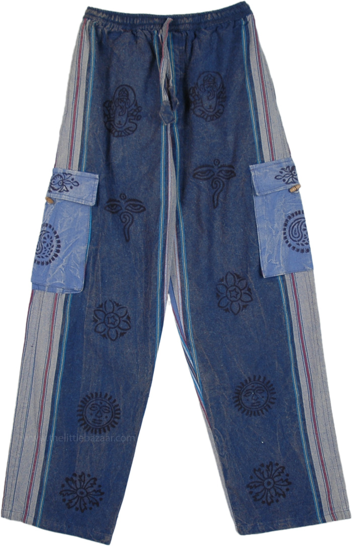Stonewashed Blue Thick Cotton Unisex Hippie Trousers